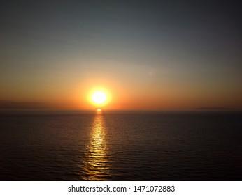 A Glorious Sunset. Sun, Sea, No Clouds. Landscape