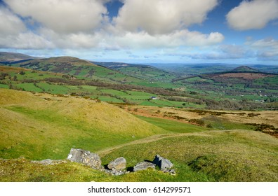 A gloriously sunny day on the slopes of Blaen Onneu near Tredegar, in the Brecon Beacons National park in Wales