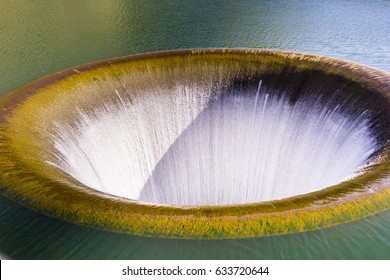 The Glory Hole spillway at Monticello Dam running again in the spring of 2017 after a season with huge rainfall, Lake Berryessa, Napa Valley, California