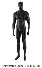 Gloss black color mannequin male isolated on white background