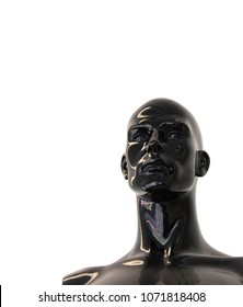 Gloss black mannequin dummy head for fashion and shop display on white background