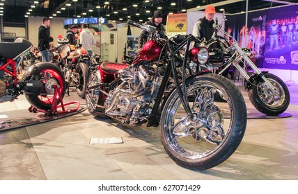 The gloss of chrome on motobikes. St. Petersburg Russia - 15 April, 2017. International Motor Show IMIS-2017 in Expoforurum. Motorcycles and motoconcepts presented at St. Petersburg Motor Show.