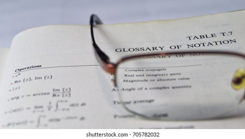 Glossary of the notations on a school and university textbook