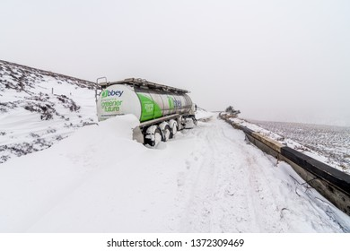 Glossop, Greater Manchester / United Kingdom - March 3 2018: Lorry stuck in a snowdrift on the notorious Sake Pass road in Peak District National Park