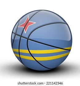 Glossy Aruba (Netherlands) basketball ball flag isolated on white background