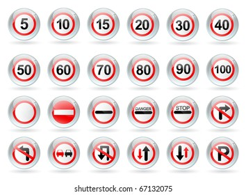 glossy balls with traffic signs