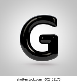 Glossy black letter G uppercase. 3D rendering font with glint and softbox reflections isolated on white background.
