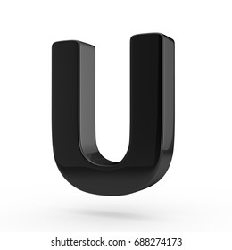 Glossy black letter U uppercase. 3D render font with glint and light reflection isolated on white background.