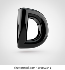 Glossy black paint letter D uppercase. 3D render of bubble twisted font with glint isolated on white background.
