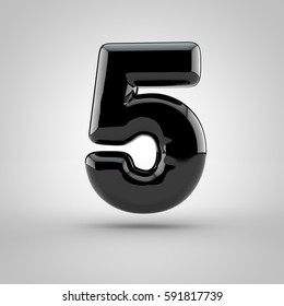 Glossy black paint number 5. 3D render of bubble font with glint isolated on white background.