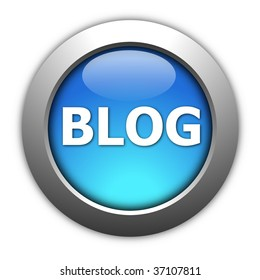 glossy blog button for internet website  on white