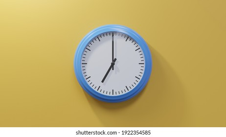 Glossy blue clock on a orange wall at seven o'clock. Time is 07:00 or 19:00