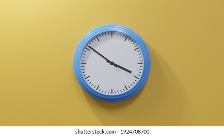 Glossy blue clock on a orange wall at fifty-one past three. Time is 03:51 or 15:51