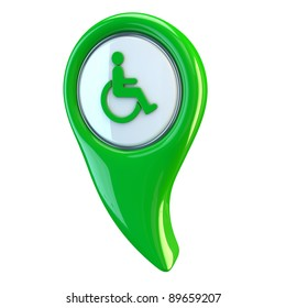 Glossy button Disability Access Symbol