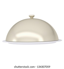 Glossy ceramic salver dish with an cover over it. Isolated render on a white background