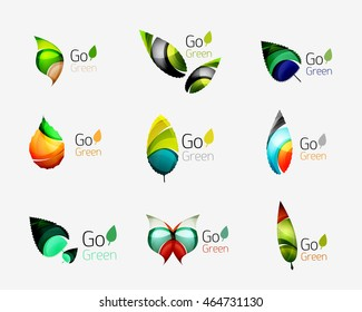 Glossy colorful leaf icon set. illustration