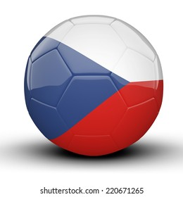 Glossy Czech Republic football ball flag isolated on white background