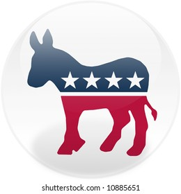 Glossy democratic party logo on a round button