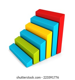 glossy finance bar chart diagram of business achivement. 3d render illustration