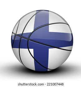 Glossy Finland basketball ball flag isolated on white background