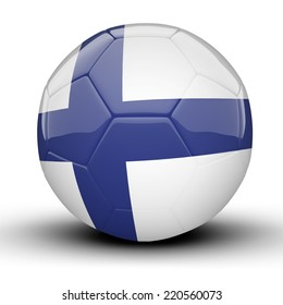 Glossy Finland football ball flag isolated on white background