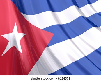 Glossy Flag of Cuba. The glossy surface of the flag, reflects the ambience.