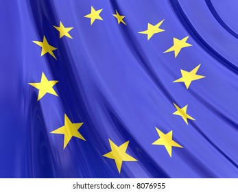 Glossy Flag of European. The glossy surface of the flag, reflects the ambience.