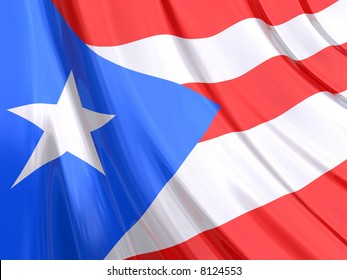 Glossy Flag of Puerto Rico. The glossy surface of the flag, reflects the ambience.