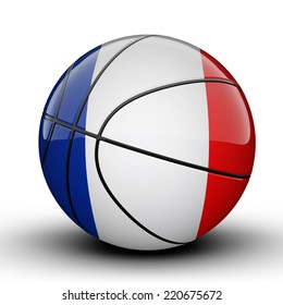 Glossy French Guiana basketball ball flag isolated on white background