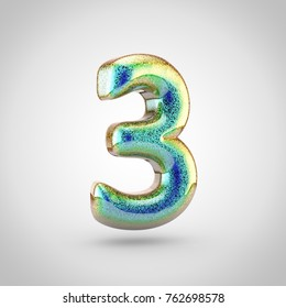 Glossy glitering number 2. 3D render of holographic glitter font isolated on white background.