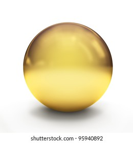 Glossy golden sphere over white background with shadows. 3d-rendering