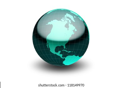 Glossy green globe  with geographical grid facing North America