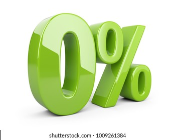 Glossy green zero percent or 0 % special Offer. Isolated over white background 3d illustration.