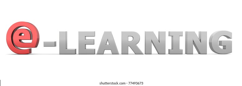 glossy grey word E-Learning - letter e is replaced by a shiny red e-AT-symbol