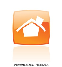 Glossy home in orange button isolated on white
