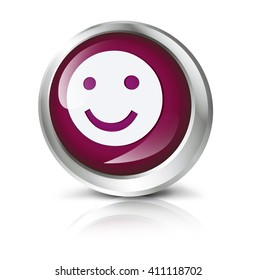 Glossy icon or button with smiley symbol.