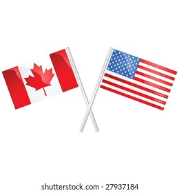 Glossy jpeg illustration of the Canadian and American flags crossed over each other