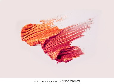 Glossy lipstick smudge pastel pink background