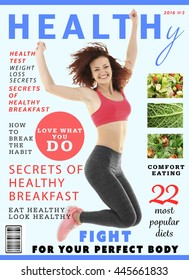 Glossy magazine page. Healthy nutrition concept