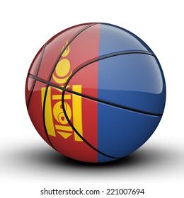 Glossy Mongolia basketball ball flag isolated on white backgroun