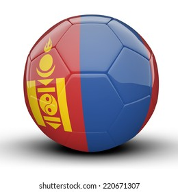 Glossy Mongolia football ball flag isolated on white background