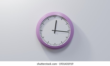 Glossy pink clock on a white wall at sixteen past twelve. Time is 00:16 or 12:16