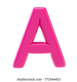 Glossy pink letter uppercase. Isolated on white background. 3d illustration
