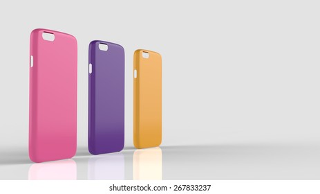 Glossy plastic cases mock-up for smartphone. Widescreen banner with grey background