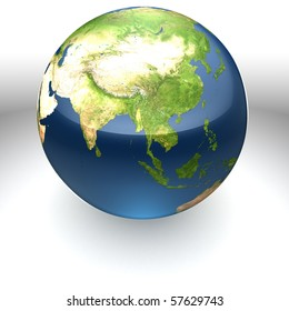 Glossy realistic textured globe facing Asia