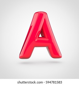 Glossy red paint letter A uppercase. 3D render of bubble twisted font with glint isolated on white background.