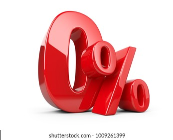 Glossy red zero percent or 0 % special Offer. Isolated over white background 3d illustration.