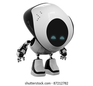 Glossy robotic toy with head down isolated on white