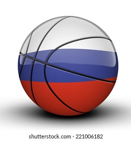 Glossy Russia basketball ball flag isolated on white background