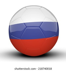 Glossy Russia football flag isolated on white background
